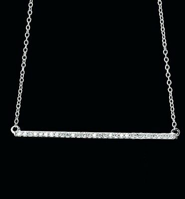 "Diamond Bar Necklace 1/2ctw 14kt White Rose or Yellow Gold 18"" Chain Msrp $1278"