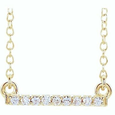 Diamond Bar Necklace Petite .07 Ctw Straight 14Kt In Yellow White Or Rose Gold