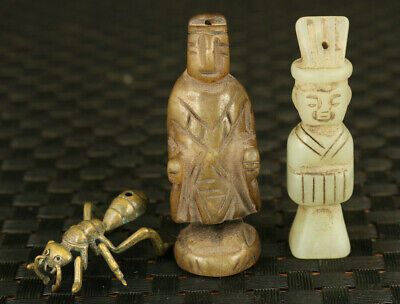 chinese old jade hand carved jade figure ant statue pendant collectable gift