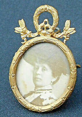 Antique Gilt Bronze Ormolu French Very Small Picture Frame-2,16""