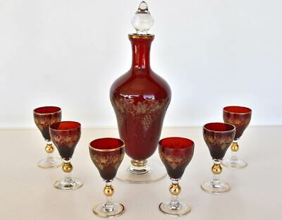 Vintage Bohemia Ruby Glass Grapevine Decanter & Glasses
