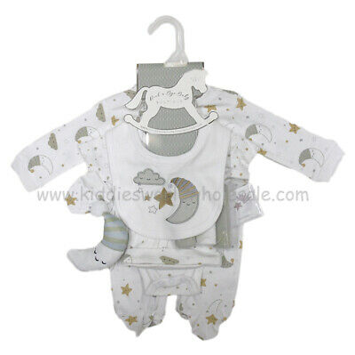 Baby Premium Boy Girls Layette Moon & Stars Clothing Washcloths & Toy Gift Set