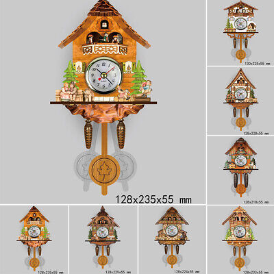 Wooden Cuckoo Wall Clock Bird Time Bell Auto Swing Pendulum No Battery