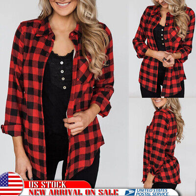 Women Plaid Check Loose Button Up Shirt Long Sleeve Blouse Casual Christmas Tops