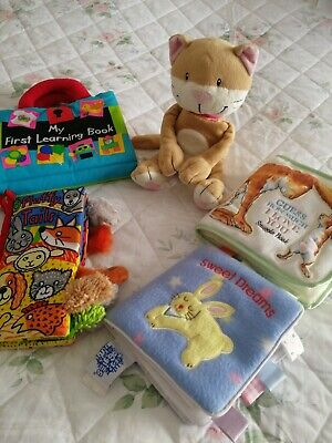 4 Babies First Reader Cloth Books, Jelly Cat, Jelly Kitten Plushie & Others