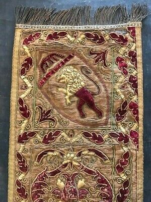 Incredible 17th Century Tapestry Metal Thread Embroidered Runner