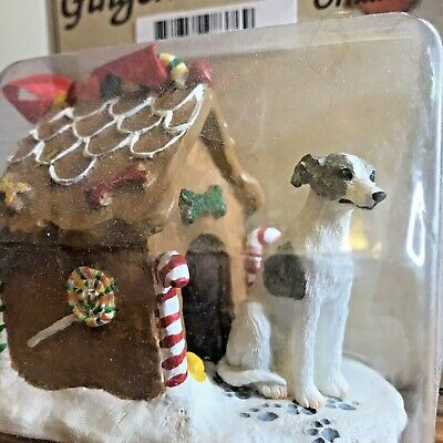 Whippet Christmas Ornament Gingerbread House Dog Ornament Gray White New