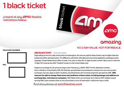 AMC Theatres 1 Black Ticket Fast Delivery no expiration w/PIN Reserve online