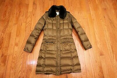 Girls Burberry Down Winter Real Fur Coat Green Size 12(152Cm)
