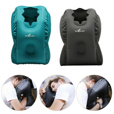 TPU Inflatable Air Travel Pillow Airplane Office Nap Rest Neck Head Chin Cushion