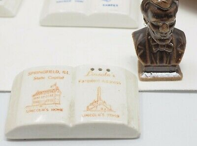 Illinois + Abraham Lincoln Souvenir Parkcraft Salt Pepper Shaker Set Vintage
