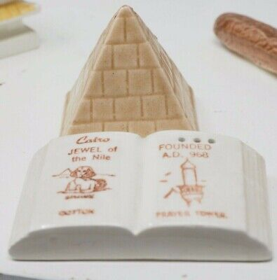 Cairo Egypt Pyramid Souvenir Parkcraft Salt Pepper Shaker Set Vintage