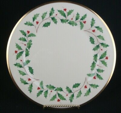 """2 Lenox China Porcelain Holiday Holly Berry Dimension Lunch Salad Plates 8-1/4"""""""