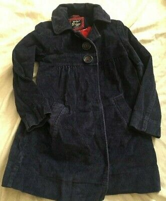 Girls Mini Boden Navy Blue Cord Dress Jacket Coat Big Button Dot Lining 7 8