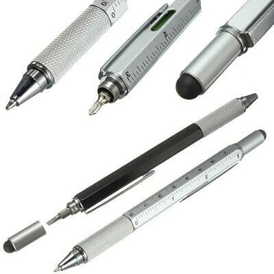 2X 6in1 Multi-Function Pen Ballpoint Tool Ruler Screwdriver Touch Screen Pen UK