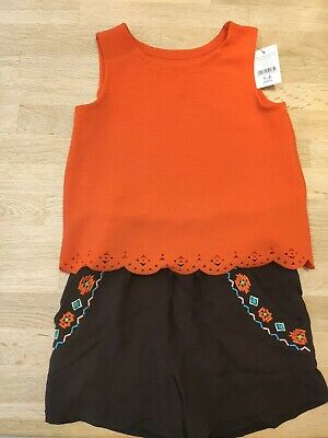 Cute Top And Shorts Girls Age 5-6 Nutmeg New