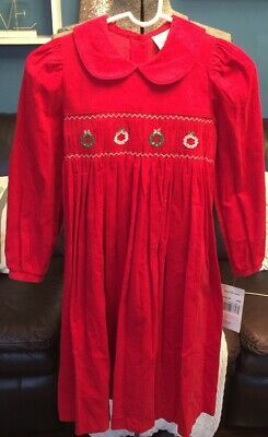 Rare Editions Red Smocked Fine Corduroy Christmas Holiday Dress Size 10 NWT!!