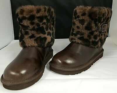 AUTHENTIC  KIDS UGG AUSTRALIA  ELLEE ANIMAL BOOT STOUT BROWN  SIZE Girls Size 4