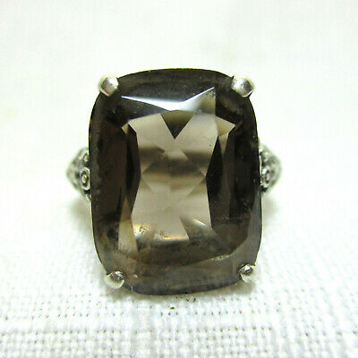 Vintage Art Nouveau SMOKY TOPAZ with Openwork 925 Sterling Silver Ring - Size 7