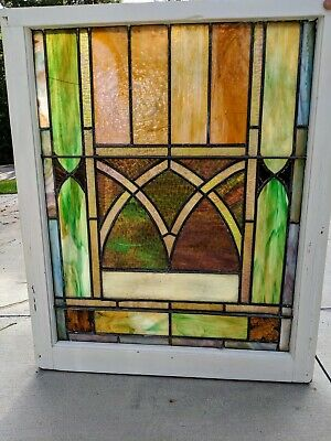 Antique Leaded STAINED GLASS WINDOW Victorian Ornate Wood Colorful Geometric #CM