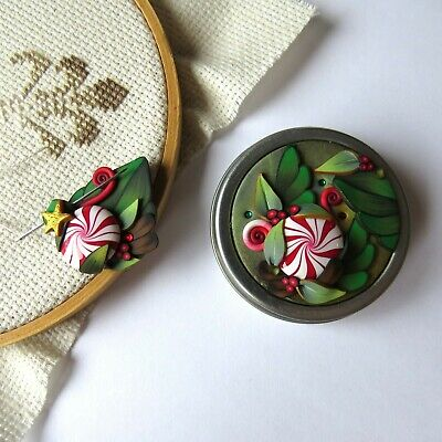 Sewing Notions Slide Top Tin and Matching Magnetic Needle Minder by Claybykim