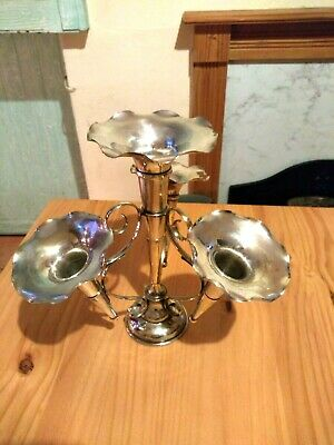 Vintage  Silver-Plated Epergne Three-Branch Centre Piece