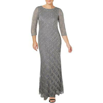 Adrianna Papell Womens Gray Mesh Embellished Formal Dress Gown 14 BHFO 3663