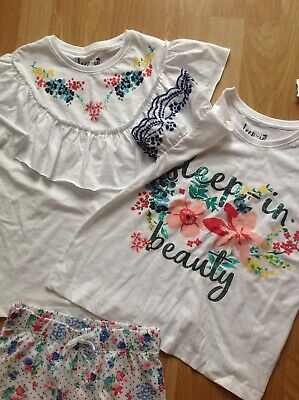 BNWT Girls Floral Pyjamas, 2 Tops With 1 Pair Of Shorts, Age 11 Years