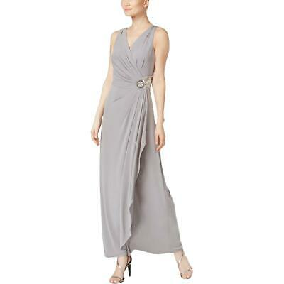 Calvin Klein Womens Gray Embellished Pleated Evening Dress Gown 12 BHFO 7646