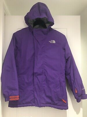 THE NORTH FACE Girls HyVent Jacket Coat purple Size L/G 14/16 With Hood Padded