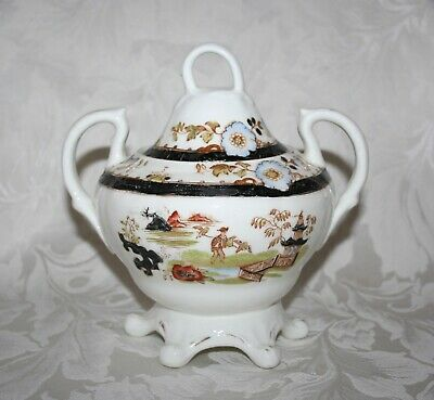 Beautiful Antique Oriental Hand Painted Willow Pattern Porcelain Gilded Tureen