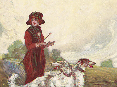 BORZOI CHARMING DOG GREETINGS NOTE CARD TWO BEAUTIFUL DOGS AND PRETTY LADY