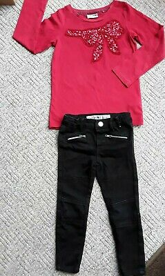 👜Girls👜 DENIM & CO👜 skinny jeans & red 👜NEXT 👜top 3-4 years VGC 👜