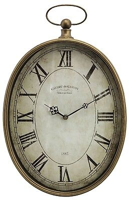 """Large Antiqued Brass Style Pocket Watch Wall Clock Distressed Face 20.5"""" NEW"""