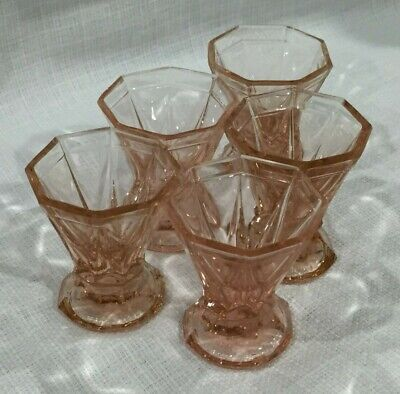 5 Art Deco Czech Bohemian Peach Rosa Glass Shot Glasses 1930s