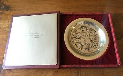 """SOLID STERLING SILVER 1972 Franklin Mint Xmas Plate Norman ROCKWELL 207.2g  8"""""""