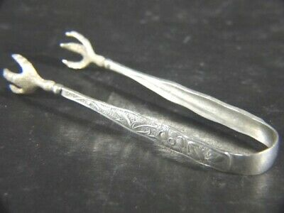Antique 1877 Towle Aesthetic ORCHIDS Sterling Fancy TONGS No Mono