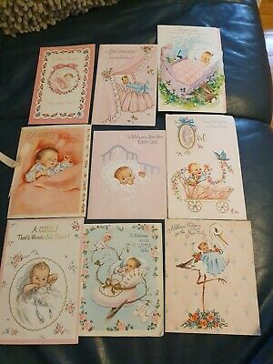 "Vintage ""congratulations on your new Baby etc "" Cards- 1960's -USED-9 pieces-n2"