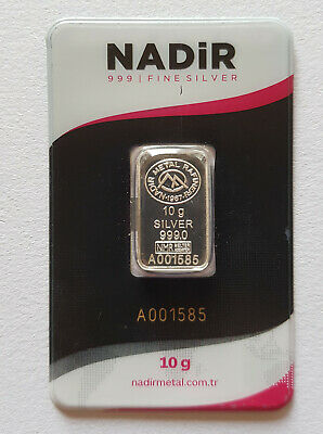 10 gram 999.0 Fine Silver Bar Nadir Metal Refinery Carded with Serial Number