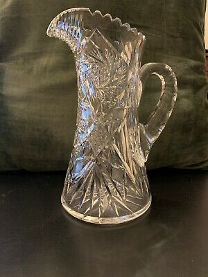 Stunning Antique American Brilliant Cut Glass Crystal Water Pitcher Carafe