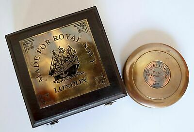 Nautical Antique Brass Vintage Stanley London Compass With Rosewood Wooden Box
