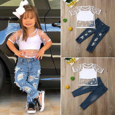 Fashion Toddler Baby Girl Vest Tops Denim Ripped Pants Clothes Outfits 3pcs Set
