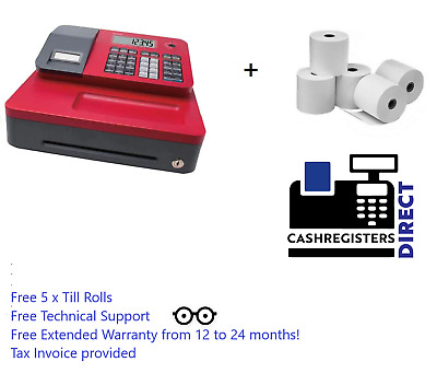NEW Casio Cash Register RED SE-G1S-R + 5 Free Till Rolls, Money Safe Petty CASH