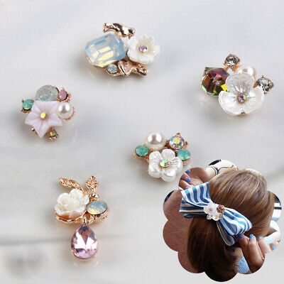 Plating Pearl Buttons Apparel Sewing Rhinestone Button Flower Buckle For 10PCS