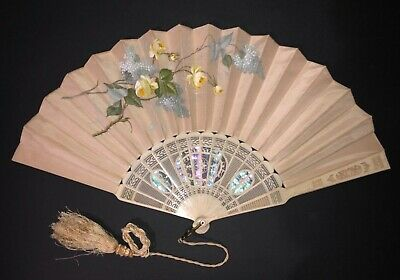 Antique Victorian Filigree Carved Mother Of Pearl Hand Painted Roses Silk Fan