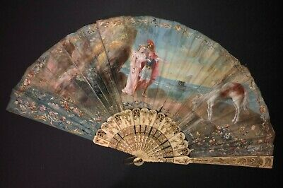 Rare Antique Victorian Hand Painted Mythological Figural Landscape Scene Fan
