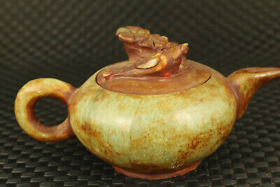 chinese rare old jade tea pot statue collect noble table home decoration gift