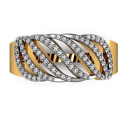 Natural Pave Diamond Designer Band Ring 18k Yellow Gold Jewelry Victorian Style