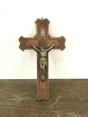 Decorative Beautiful handmade Antique Wooden Cross With Jesus Copper Statue 12""