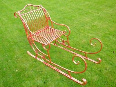 Large Santa's Sleigh Metal Freestanding In Red With Gold Leaf Finish